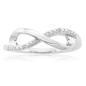 Sterling Silver 0.02 Carat Diamond Infinity Ring with 6 Brilliant Cut Diamonds