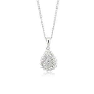 Sterling Silver 0.01 Carat Diamond Pear Shape Pendant with 2 Brilliant Cut Diamonds