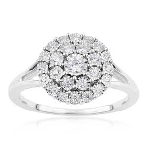 Sterling Silver 1/4 Carat Diamond  Ring