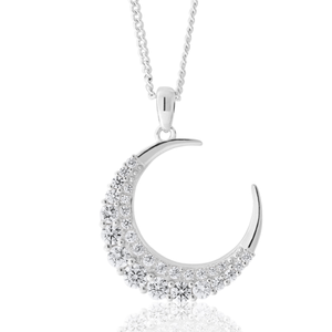 Sterling Silver Zirconia Crescent Moon Pendant