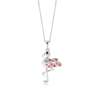 Sterling Silver Zirconia Pink Winged Flamingo Pendant