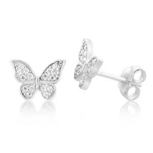 Sterling Silver Zirconia Butterfly Stud Earrings
