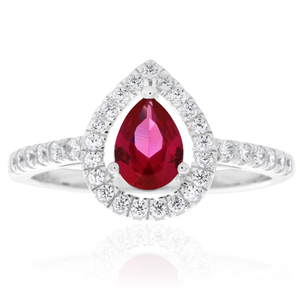 Sterling Silver Created Ruby Pear Halo White Cubiz Zirconia Channel Set Ring