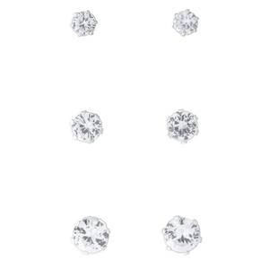 Sterling Silver Multi Size Zirconia 3 Stud Earring Set