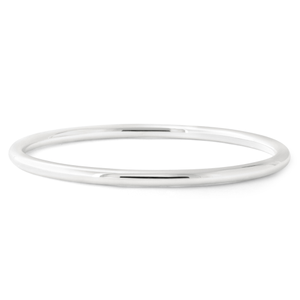 Sterling Silver Solid 4mm x 65mm Round Golf Bangle