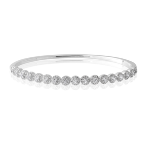 Sterling Silver Zirconia Oval Hinged Tennis Bangle