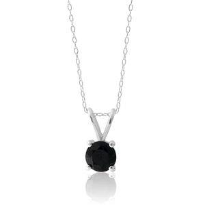 Sterling Silver Natural Blue Sapphire 6mm Pendant with Chain