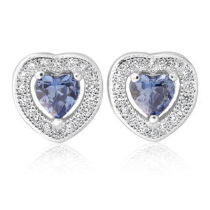 Sterling Silver Cobalt and White Zirconia Heart Stud Earrings