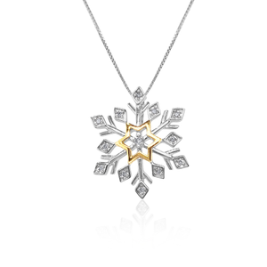 Sterling Silver Diamond Snowflake Pendant with Gold Plated Star Accent on 45cm Chain