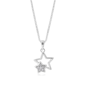 Sterling Silver Double Star Zirconia Pendant
