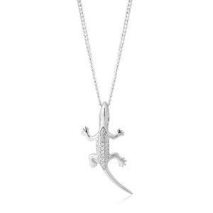 Sterling Silver Zirconia Lizard Pendant