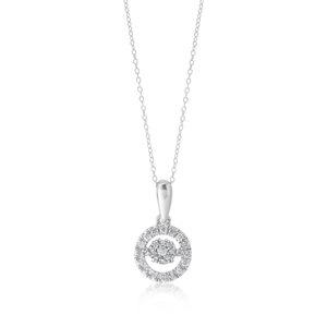 Silver 20 Point Diamond Pendant on a Silver 45cm Chain