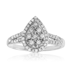 Silver 1/2 Carat Cluster Dress Ring with 55 Brilliant Diamonds
