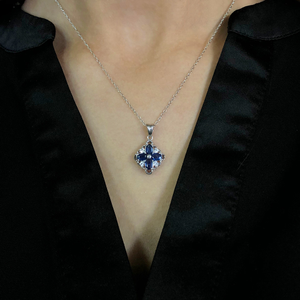 Natural Sapphire Sterling Silver Pendant with chain