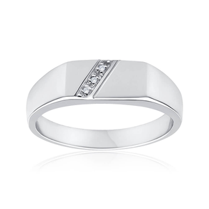 Sterling Silver Diamond x 3 Gents Ring