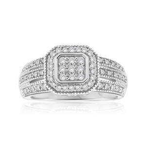 Sterling Silver Dazzling Diamond Ring