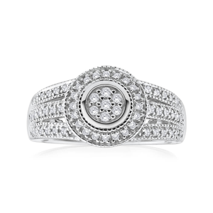 Sterling Silver Grand Diamond Ring