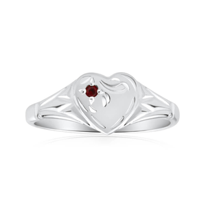 Sterling Silver Garnet Heart Size L Ring
