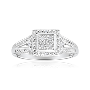 Sterling Silver Adorable Diamond Ring