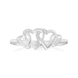 Sterling Silver 4 Heart Diamond Ring