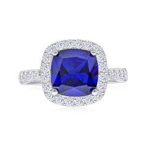 Sterling Silver Created Sapphire + Cubic Zirconia Cushion Cut Ring
