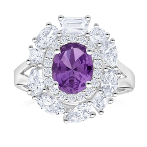 Sterling Silver Amethyst + Cubic Zirconia Cluster Ring