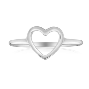Sterling Silver Fancy Open Heart Ring