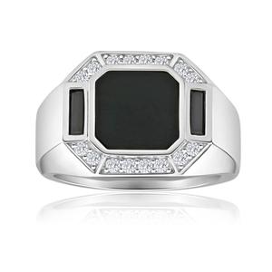 Sterling Silver Onyx + Zirconia Ring