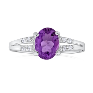 Sterling Silver Amethyst + Cubic Zirconia Oval Cut Ring