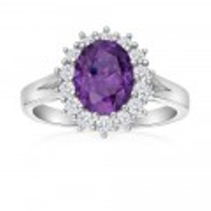 Sterling Silver Oval Cut Purple and White Halo Cubic Zirconia Ring