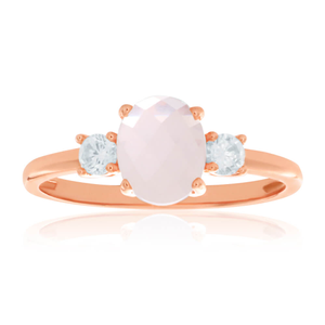 Gold Plated Sterling Silver Cubic Zirconia + Rose Quartz Oval Ring