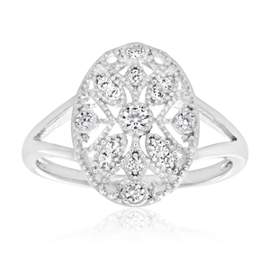 Sterling Silver Rhodium Plated Cubic Zirconia Style Vintage Ring