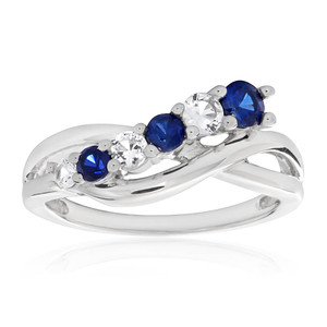 Sterling Silver Created Blue Sapphire + Created White Sapphire + Diamond Ring