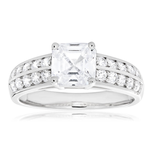 Sterling Silver Rhodium Plated Zirconia Princess Cut Channel Set Ring