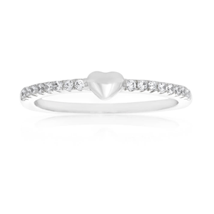 Sterling Silver Rhodium Plated Cubic Heart Channel Band Zirconia Ring
