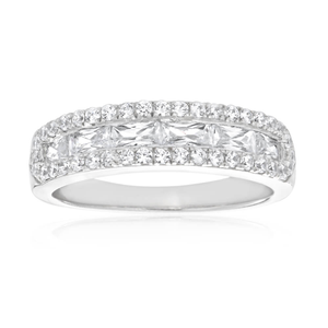 Sterling Silver Rhodium Plated Cubic Channel Band Zirconia Ring