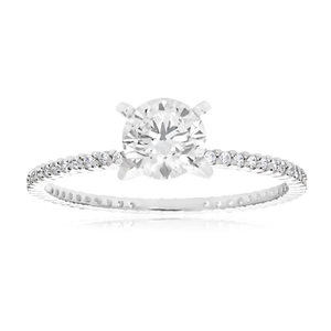 Sterling Silver Rhodium Plated Zirconia Round All The Way Ring