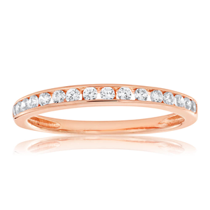 Sterling Silver Rose Gold Plated Zirconia Channel Set Ring **No Resize**