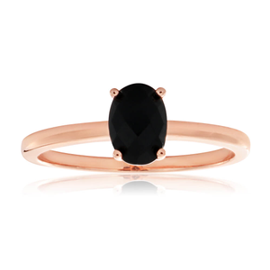 Rose Gold Plated Sterling Silver Onyx Ring