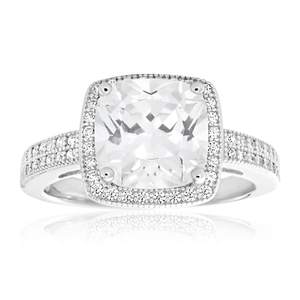 Sterling Silver Rhodium Plated Cubic Zirconia Cushion Cut Halo Pave Ring
