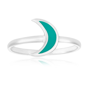 Sterling Silver Created Turquoise Cresent Moon Ring