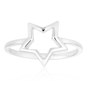 Sterling Silver Plain Open Star Ring