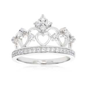 Sterling Silver Rhodium Plated Zirconia Princess Crown Ring