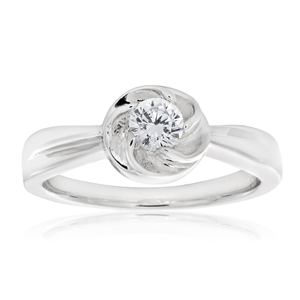 Sterling Silver Rhodium Plated Zirconia Mini Flower Ring