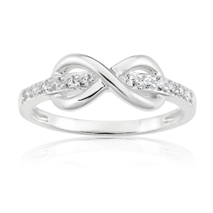 Sterling Silver Cubic Zirconia Channel Set Infinity Ring