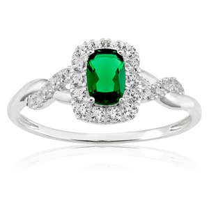 Sterling Silver Created Emerald and Zirconia Ring