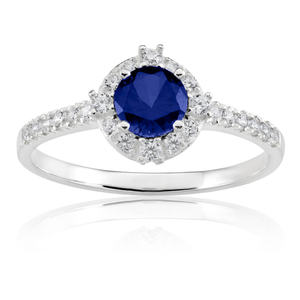 Sterling Silver Created Sapphire + Cubic Zirconia Brilliant Cut Ring