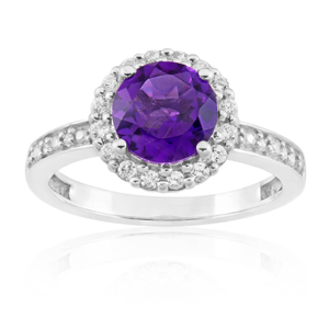 Sterling Silver Amethyst + White Zircon Ring