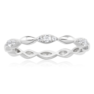 Sterling Silver Rhodium Plated Cubic Zirconia Marquise Eternity Ring
