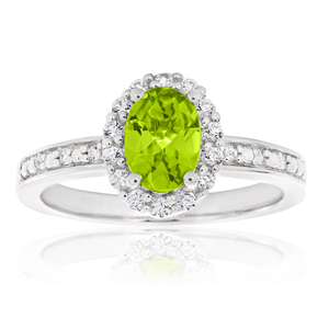 Sterling Silver Rhodium Plated Peridot & White Zircon Ring